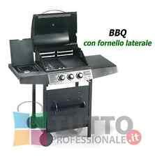 Barbecue bbq a gas in ghisa con fornello laterale griglia e 2 bruciatori