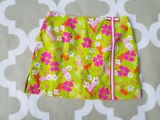 Lilly Pulitzer Golf Skirt Skort Pink Green  Orange Fun Floral Print Size 8, M