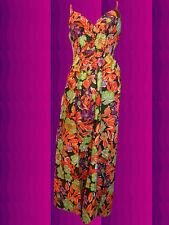181✪ 60er 70er Jahre Panton Ära Blumenkinder Maxi dress Kleid Hippie oliv Gr 40