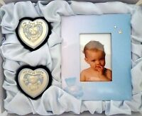 """BABY BOY KEEPSAKE """"FIRST CURL, FIRST TOOTH & FRAME"""" SET IN BLUE SATIN LINED BOX"""