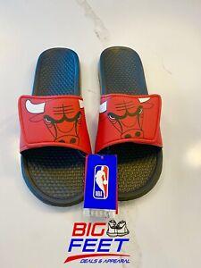 Size MED NBA Chicago Bulls Comfort Adjust Men's Sandals Slides Flip Flops Jordan