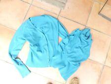 ENSEMBLE tailleur TOP TUNIQUE VESTE GILET TURQUOISE Taille  38/40 §§§