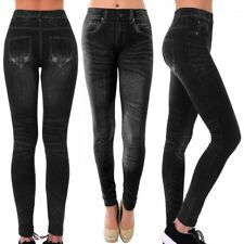 Women Black Jeggings Pants Sexy Leggings Skinny Stretchy Pencil Jeans Print Soft