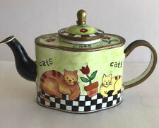Charlotte Di Vita Miniature Enamel Cats On Check Floor Teapot Trade + Aid.