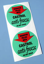"Castrol vintage style ""Anti Freeze"" radiateur remplir stickers x2 Autocollants MINI COOPER"
