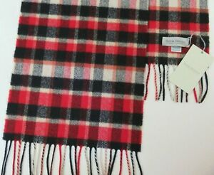 Mens scarf wool & cashmere red navy blue cream checked Made in Scotland NEW warm