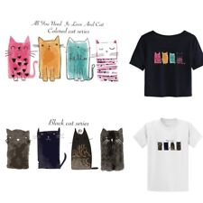 Cute Cat Patches T-shirt Heat Transfer Sticker Clothes Iron On Appliques