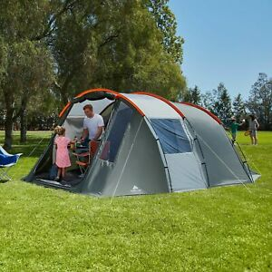 6 Man Tunnel Tent Men Person Ozark Orange and Grey Great For Staycation Camping