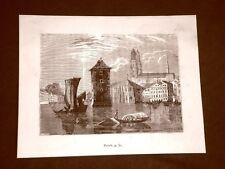 Incisione in rame del 1849 Antica veduta di Zurigo o Zürich, Svizzera