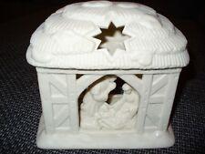 Partylite Krippe, Teelicht Haus, Bisquitporzellan, weiß