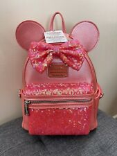 More details for loungefly disney parks rare ariel's grotto coral sequin mini backpack