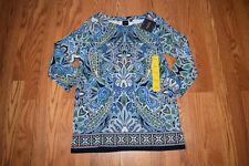 8e52163aa1be NWT Womens RAFAELLA Navy Paisley Print 3/4 Sleeve Knit Tunic Shirt Top 2XL  $58