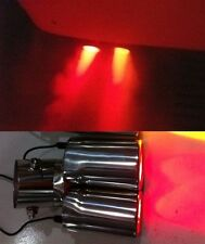Red LED Fake Flame Effect Twin Muffler Exhaust Pipe Tip Silver for Toyota Prius