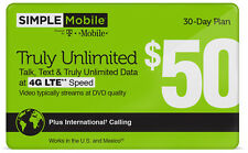 Simple Mobile $50 Truly Unlimited Data Plan Preloaded Dual Sim Card 1st Month