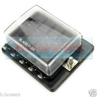 12V / 24V 10 WAY LED LIGHT BLADE FUSE BOX HOLDER 1 SINGLE POWER INPUT IN BUS BAR