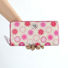 New Coach Floral Print Accordion Zip Around Wallet F50672 Pink Flowers Heart NWT