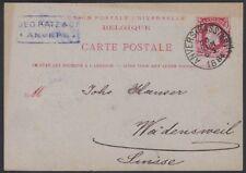 Belgium, 1884. Post Card H&G 15, Anvers - Wadensweil