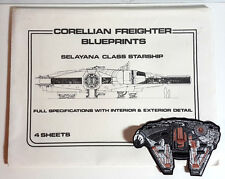 Star Wars Corellian Freighter/Millenniun Falcon Blueprint Set-4 Sheets w  Patch