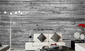 Horizontal Old Barn Wood (Black and White) 12' x 8' (3,66m x 2,44m)-Wall Mural *