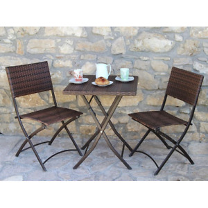 Duetto dining set coffee table and two folding chairs steel structure top and se