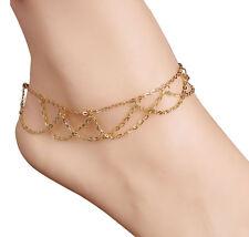 Multi Layer Gold Tassel Anklet! Summer Beach Sand Boho Chic Bohemian Tassel