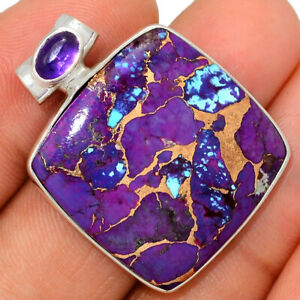 Copper Purple Turquoise & Amethyst 925 Sterling Silver Pendant Jewelry BP52018