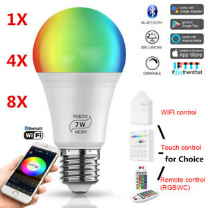 Bluetooth Mesh WIFI LED Light Bulb E26 E27 RGB+CCT For Google Home Amazon Alexa