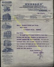 1911 LONDON, HUDSONS HOUSE REMOVALS & FURNITURE DEPOT. VICTORIA STATION