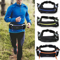 Hydration Running Belt w/ Water Bottles Waist Pack For Women Men Hiking Cycling