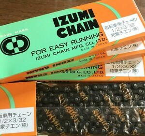 "Izumi Bike Chain 1/2"" x 3/32"" 116L 7.8mm Black 5/6 Speed Vintage Touring Charity"