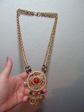 Vintage Gold Brass  Pendant  Double Necklace