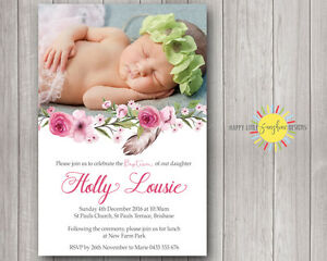 Printable Girls Photo Christening / Naming Day Invitation Floral, Feathers Pink