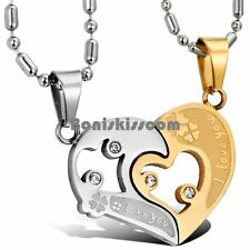 I LOVE YOU Heart Lucky Clover Couple Matching His and Hers Pendant Necklaces