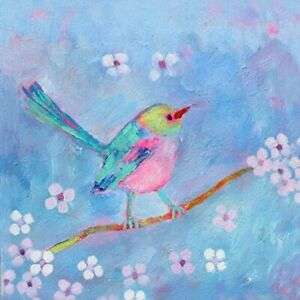 Little FINCH Birthday Card - BLANK INSIDE - 14.5 x 14.5 cms - Jane Faires Art