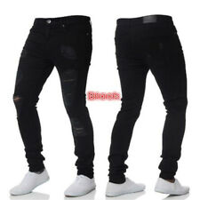 Men Ripped Skinny Biker Zipper Fly Jeans Destroyed Hole Frayed Denim Pants Blue