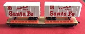 Tyco HO Train Car ~  Flat Car 50 Foot With Piggyback Santa FE 354a 350 IN BOX