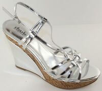 Charles David Lustre Womens Silver Strappy Wedge Heels Shoes Size 9.5 Sandal NEW