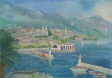 VintageFrench Oil Painting, Monaco, Monte Carlo,  French Riviera, Boats, Casino