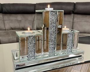 Mirrored Diamante Jewel Crystal Art Deco 3 Tier Tea Light Mantle Candle Holder