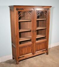 *Vintage French Gothic Revival Bookcase/Cabinet/Console in Oak