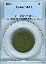 1853 Braided Hair Large Cent : PCGS AU53