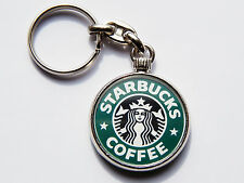 STARBUCKS Famous Coffee Shop Quality Chrome Keyring Picture on Both Sides!