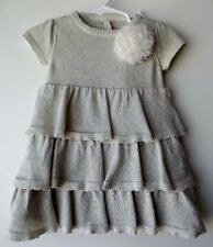 DKNY Baby Girls Tiered Ruffled Silver 2-PC Dress size 12 Months NWT G82514