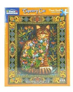 """NEW """"Tapestry Cat"""" White Mountain 1000 Piece Jigsaw Family Puzzle Sealed"""