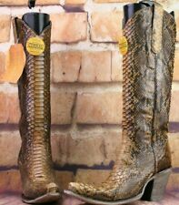 Corral Ladies Tan Full Python Snakeskin Zip-Up Knee-High Boots Defective Sz 8.5