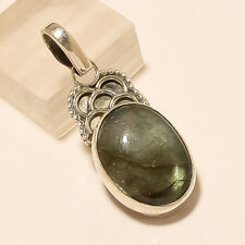 Silver Handcrafted Fine Jewelry Natural Madagascar Labradorite Pendant Sterling