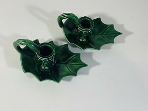 Holly Leaf Green Ceramic Candle Holders - Set of 2 Christmas Holiday Decor