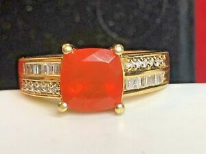 VINTAGE ESTATE 18K GOLD NATURAL MEXICAN FIRE OPAL  DIAMOND RING  GEMSTONE