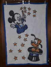 Vtg 1984 Velours Walt Disney Babies Mickey & Pluto Reversible Blanket Throw