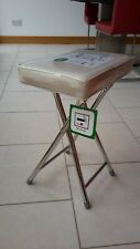 Upholstered folding stool, with cream faux leather seats